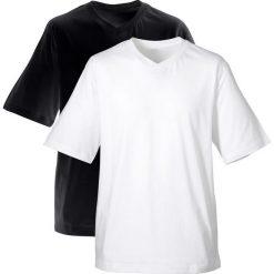 T-shirt męski z dekoltem w serek (2 szt.) bonprix czarny + biały. Białe t-shirty męskie bonprix, l, z bawełny, z dekoltem w serek. Za 49,98 zł.