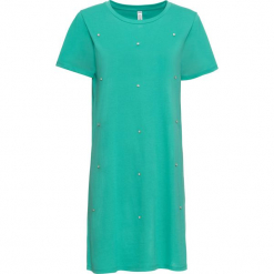 Sukienka shirtowa z połyskującymi kamieniami bonprix zielony oceaniczny. Zielone sukienki mini bonprix, z okrągłym kołnierzem, z krótkim rękawem. Za 74,99 zł.
