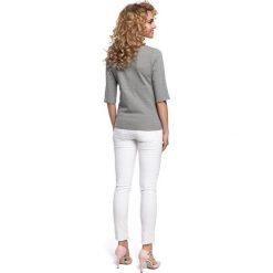 GABRIELE Bluzka z wiązaniem w talii - szara. Szare bluzki z odkrytymi ramionami Moe, z dresówki, z krótkim rękawem. Za 99,00 zł.