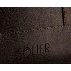 Męska elegancka torba na ramię Solier NORMAN brąz. Brązowe torby na ramię męskie marki Solier, w paski, z jeansu. Za 179,00 zł.