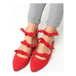 Baleriny damskie: Czerwone Balerinki Grunch