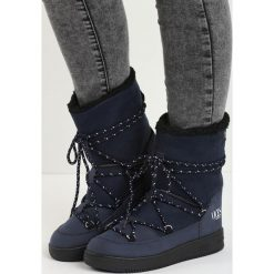 Granatowe Śniegowce Moonlight Dance. Czarne buty zimowe damskie marki TOMMY HILFIGER, z materiału. Za 89,99 zł.