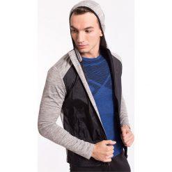 Bluzy męskie: Bluza treningowa męska BLMF002z – jasny szary melanż – 4F