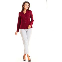 Bordowa Wizytowa Taliowana Koszula z Dekoltem. Czerwone koszule wiązane damskie Molly.pl, l, eleganckie, dekolt w kształcie v, z długim rękawem. Za 109,90 zł.
