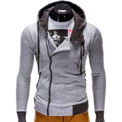 Bluzy męskie: BLUZA MĘSKA ROZPINANA Z KAPTUREM B297 - SZARA