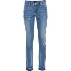"""Dżinsy ze stretchem 7/8 SKINNY bonprix niebieski """"bleached"""". Niebieskie jeansy damskie marki bonprix, z nadrukiem. Za 129,99 zł."""
