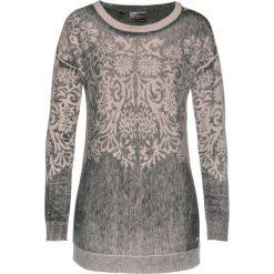 Sweter z kaszmirem bonprix kamienisto-czarno-srebrny. Szare swetry klasyczne damskie bonprix, z kaszmiru, z dekoltem w łódkę. Za 149,99 zł.