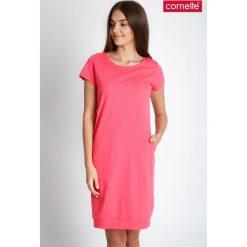 Piżamy damskie: Koralowa gładka piżama koszula nocna QUIOSQUE