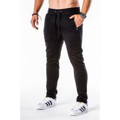 SPODNIE MĘSKIE DRESOWE P549 - CZARNE. Czarne spodnie dresowe męskie Ombre Clothing, z bawełny. Za 49,00 zł.