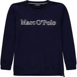 Bluza w kolorze granatowym. Białe bluzy dziewczęce rozpinane marki Marc O'Polo Junior, z nadrukiem, z okrągłym kołnierzem, z długim rękawem. W wyprzedaży za 125,95 zł.
