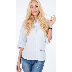 Niebieska Haftowana Koszula BB20622. Niebieskie koszule damskie Fasardi, m, z haftami. Za 49,00 zł.