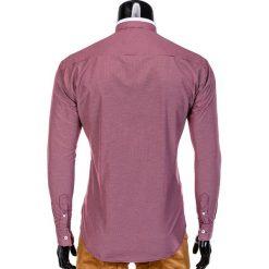 KOSZULA MĘSKA ELEGANCKA Z DŁUGIM RĘKAWEM K389 - CZERWONA. Brązowe koszule męskie na spinki marki Ombre Clothing, m, z aplikacjami, z kontrastowym kołnierzykiem, z długim rękawem. Za 59,00 zł.