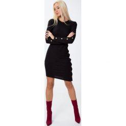 Sukienki: Sukienka ze złotymi detalami czarna 6469