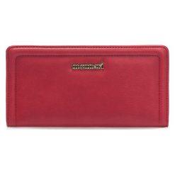 Portfel z wizytownikiem 20cm x 11cm. Czerwone portfele damskie marki Monnari, ze skóry. Za 69,50 zł.