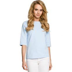 LUNA Bluzka z wiązaniem - błękitna. Niebieskie bluzki z odkrytymi ramionami Moe, z dresówki, z dekoltem w łódkę. Za 109,99 zł.