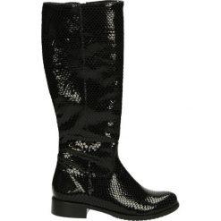 Kozaki ocieplane - Z876 PIT NERO. Czarne buty zimowe damskie marki Kazar, ze skóry, na wysokim obcasie. Za 299,00 zł.