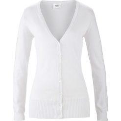 Sweter rozpinany bonprix biały. Białe kardigany damskie bonprix, z dzianiny. Za 59,99 zł.