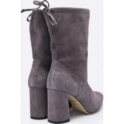 Wojas - Botki. Szare buty zimowe damskie Wojas, z materiału, na obcasie. W wyprzedaży za 219,90 zł.