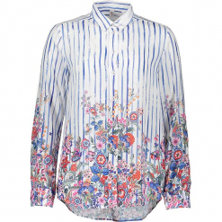 Bluzka - Comfort fit - w kolorze biało-niebieskim ze wzorem. Białe topy sportowe damskie Seidensticker, z wiskozy. W wyprzedaży za 159,95 zł.