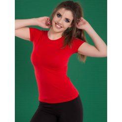 Bluzka basic krótki rękaw okrągły dekolt czerwona. Czerwone bluzki damskie Yups, l, z bawełny, młodzieżowe, z okrągłym kołnierzem, z krótkim rękawem. Za 29,99 zł.