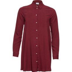 Bluzka z plisą guzikową z perełkami bonprix czerwony rubinowy. Czerwone bluzki longsleeves marki OLAIAN, s, z materiału. Za 89,99 zł.