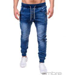 SPODNIE MĘSKIE JEANSOWE JOGGERY P198 - NIEBIESKIE. Niebieskie joggery męskie marki Ombre Clothing, z bawełny. Za 79,00 zł.