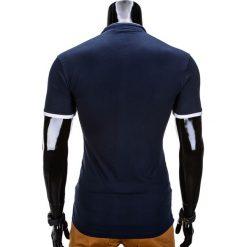 KOSZULKA MĘSKA POLO BEZ NADRUKU S848 - GRANATOWA. Czarne koszulki polo marki Ombre Clothing, m, z bawełny, z kapturem. Za 29,00 zł.