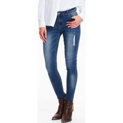 Spodnie damskie: SPODNIE DAMSKIE DENIMOWE Z DRAPOWANIEM