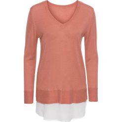Swetry klasyczne damskie: Sweter 2 w 1 bonprix dymny brzoskwiniowy – biały
