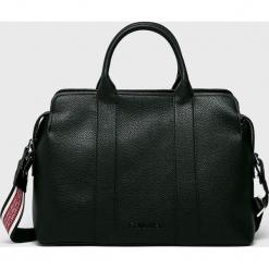 Calvin Klein - Torebka. Czarne torebki klasyczne damskie marki Calvin Klein, w paski, z materiału, duże. Za 699,90 zł.