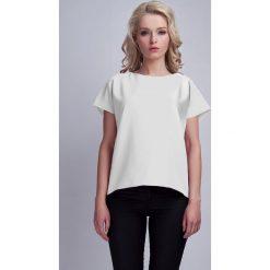 Bluzki damskie: Biała Ciekawa Bluzka z Kopertowym Założeniem na Plecach