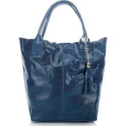 Niebieska Włoska Torba skórzana Damska Skóra wężowa. Niebieskie torebki klasyczne damskie Paolo Peruzzi, ze skóry. Za 199,00 zł.