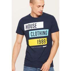 T-shirt Granatowy. Niebieskie t-shirty męskie marki House, m. Za 35,99 zł.