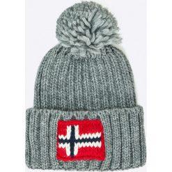 Napapijri - Czapka. Szare czapki zimowe męskie marki Napapijri, z dzianiny. W wyprzedaży za 139,90 zł.