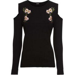 Swetry klasyczne damskie: Sweter z wycięciami bonprix czarny