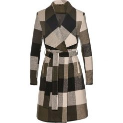 Płaszcz z paskiem bonprix ciemnooliwkowo-czarny w kratę. Zielone płaszcze damskie marki bonprix. Za 124,99 zł.