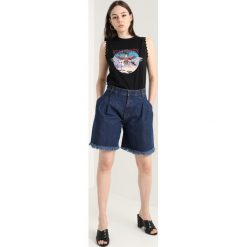 Bermudy damskie: Ksenia Schnaider HIGH WAISTED Szorty jeansowe dark blue