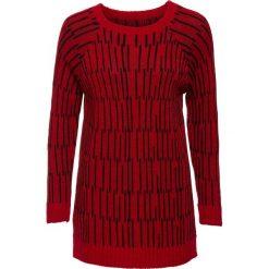 Swetry klasyczne damskie: Długi sweter bonprix czerwono-czarny