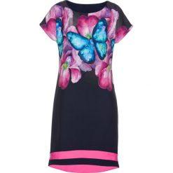 Sukienki: Sukienka bonprix ciemnoniebiesko-fuksja-turkusowy z nadrukiem