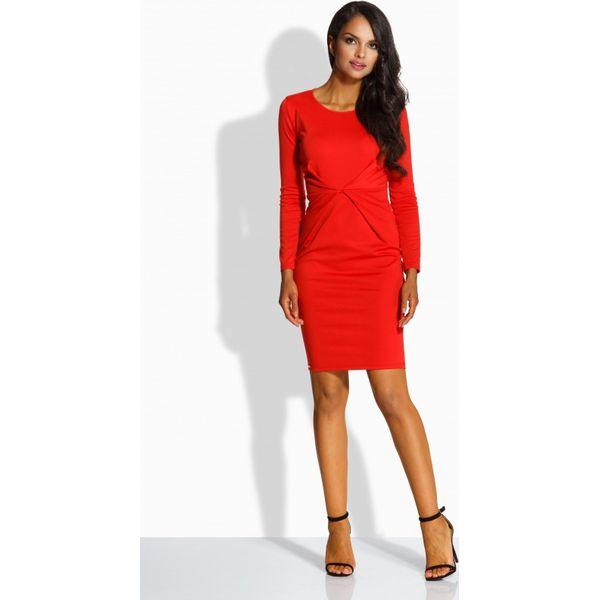 83df458db8 Elegancka sukienka z zakładką w talii czerwony DESTINY - Czerwone sukienki  damskie Lemoniade