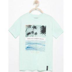 Odzież chłopięca: T-shirt z surferskim nadrukiem – Turkusowy