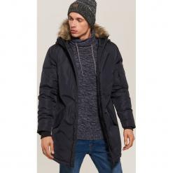 Płaszcz z kapturem - Granatowy. Niebieskie płaszcze na zamek męskie marki House, l. Za 299,99 zł.
