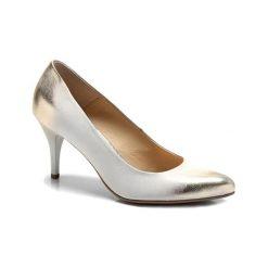 Buty ślubne damskie: Skórzane czółenka w kolorze złoto-białym