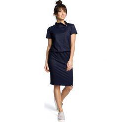 ALISSA Sukienka z zamkiem pod szyją - granatowa. Niebieskie sukienki dzianinowe BE, s, sportowe, ze stójką, dopasowane. Za 139,99 zł.