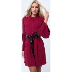 Sukienka rozkloszowana z guzikami bordowa 1586. Czerwone sukienki Fasardi, l, rozkloszowane. Za 79,00 zł.