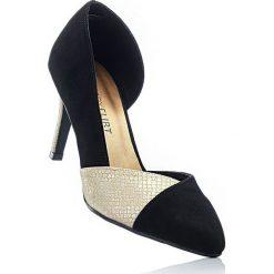 Czółenka bonprix czarno-złoty - skóra węża. Czarne buty ślubne damskie bonprix, z nadrukiem, ze skóry. Za 89,99 zł.