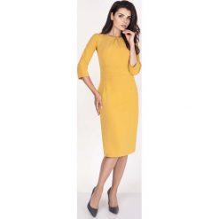 Żółta Sukienka Midi z Rękawem za Łokieć. Żółte sukienki balowe marki Molly.pl, do pracy, l, z klasycznym kołnierzykiem, midi, ołówkowe. W wyprzedaży za 108,72 zł.