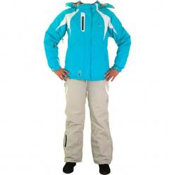 2-częściowy zestaw narciarski w kolorze turkusowym. Białe kurtki dziewczęce przeciwdeszczowe marki 4F JUNIOR, na lato, z materiału. W wyprzedaży za 302,95 zł.