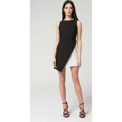 Sukienki asymetryczne: Asymetryczna Wyjściowa Czarno-Biała Sukienka bez Rękawów
