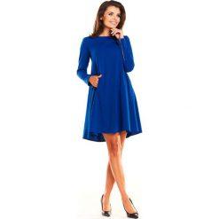 Niebieska Sukienka Oversize z Suwakami na Rękawach. Niebieskie sukienki mini Molly.pl, do pracy, l, biznesowe, z długim rękawem, oversize. Za 139,90 zł.